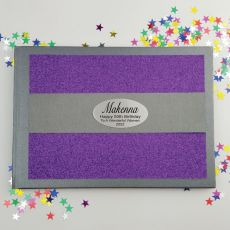 50th Birthday Personalised  Glitter Guest Book- Purple
