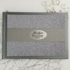 13th Birthday Personalised  Glitter Guest Book- Gunmetal