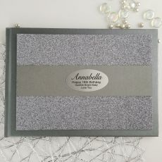 16th Birthday Personalised  Glitter Guest Book- Gunmetal
