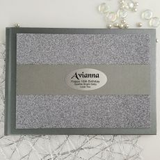 18th Birthday Personalised  Glitter Guest Book- Gunmetal