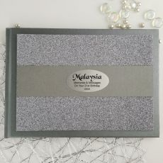 21st Birthday Personalised  Glitter Guest Book- Gunmetal