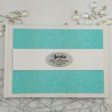 Personalised 16th Birthday Guest Book- Aqua Glitter