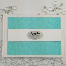 Personalised 21st Birthday Guest Book- Aqua Glitter
