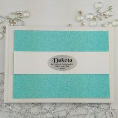 Personalised 40th Birthday Guest Book- Aqua Glitter