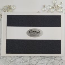 Personalised 16th Birthday Guest Book- Black  Glitter