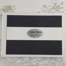 Personalised Memorial Funeral Guest Book- Black Glitter