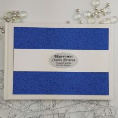 Personalised Baptism Guest Book- Blue Glitter