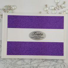 Personalised Guest Book- Purple Glitter