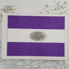 Personalised Christening Guest Book- Purple Glitter