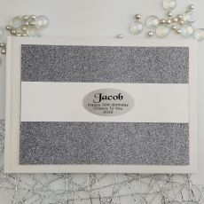 Personalised 30th Birthday Guest Book- Gunmetal Glitter