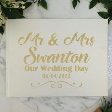 Mr & Mrs Wedding Guest Book Keepsake Album - White A4