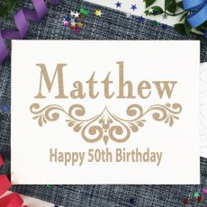 Personalised 50th Birthday Guest Book Album - White A4