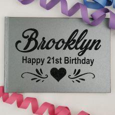 21st Birthday Guest Book Album - A4 Grey