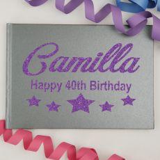 40th Birthday Guest Book Album - A4 Grey