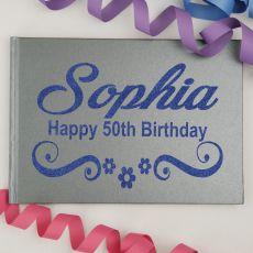 50th Birthday Guest Book Keepsake Albumm - A5 Grey