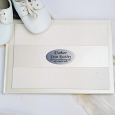 Christening Guest Book Album Cream Glitter Band