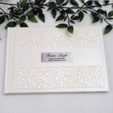 50th Birthday Guest Book Keepsake  Album - Cream Pebble