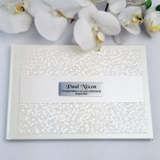 Retirement Guest Book Keepsake Album- Cream Pebble