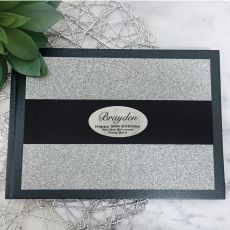 50th Birthday Guest Book Album Silver Glitter Band