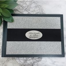 Wedding Guest Book Album Silver Glitter Band