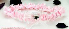 Pink Wedding Garter with Heart
