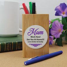 Mum Personalised Bamboo Pen Holder