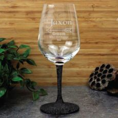 Groom Engraved  Personalised Wine Glass