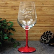 Page Boy Engraved Personalised Wine Glass 450ml