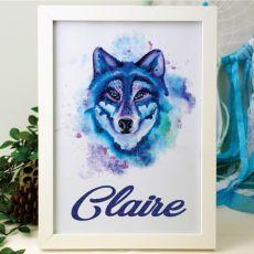 Personalised Framed Glittered Artwork - Wolf