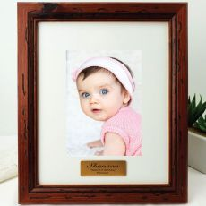 1st Birthday Personalised Photo Frame 5x7 Mahogany Wood