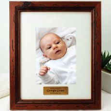 Baby Personalised Photo Frame 5x7 Mahogany Wood