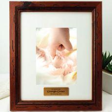 Baptism Personalised Photo Frame 5x7 Mahogany Wood