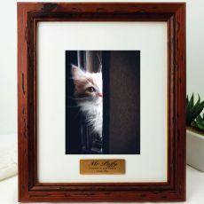 Pet Memorial Personalised Photo Frame 5x7 Mahogany Wood