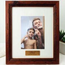 Dad Personalised Photo Frame 5x7 Mahogany Wood