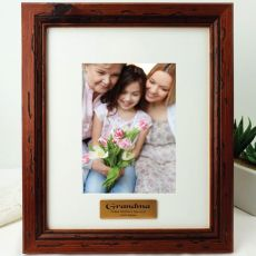 Grandma Personalised Photo Frame 5x7 Mahogany Wood