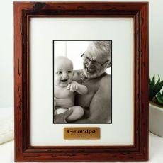 Grandad Personalised Photo Frame 5x7 Mahogany Wood