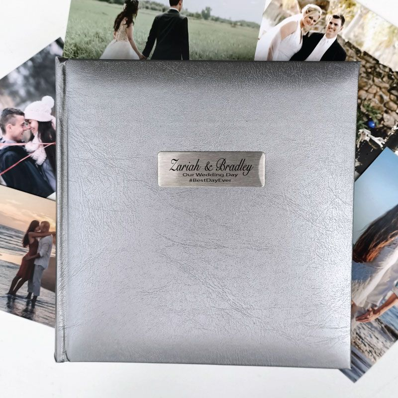 Personalised Wedding Photo Album Silver 200 Personalised Engraved Gifts