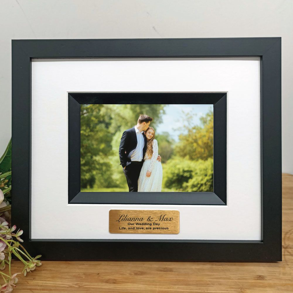 Wedding Photo Frame Silhouette Black 4x6 Personalised Engraved Gifts