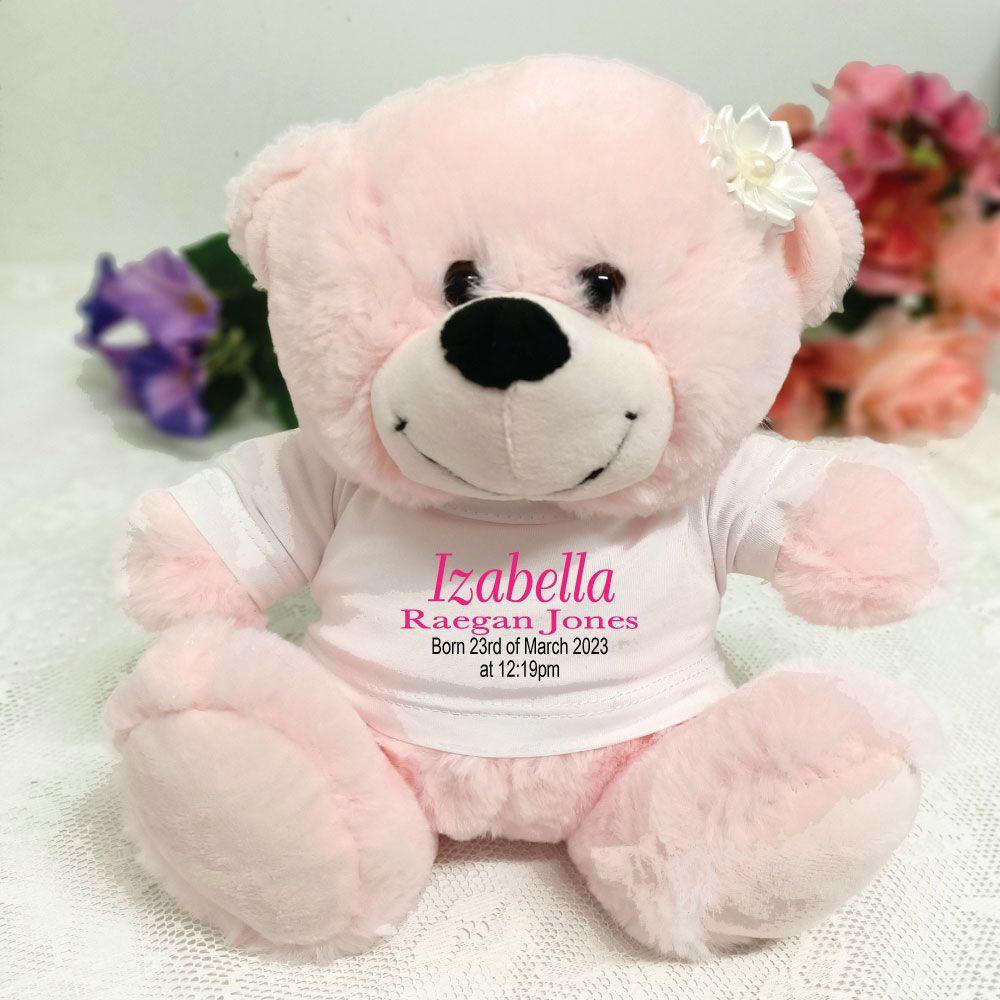 Keepsake personalised new baby girl bear