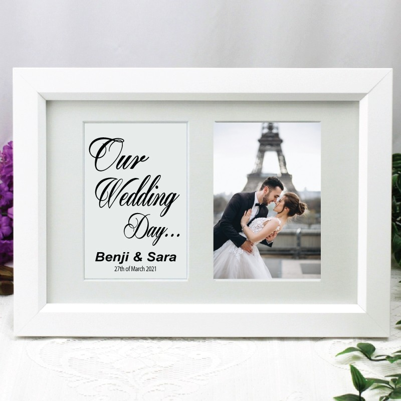 Wedding Photo Frame Typography Print 4x6 White Personalised Engraved Gifts