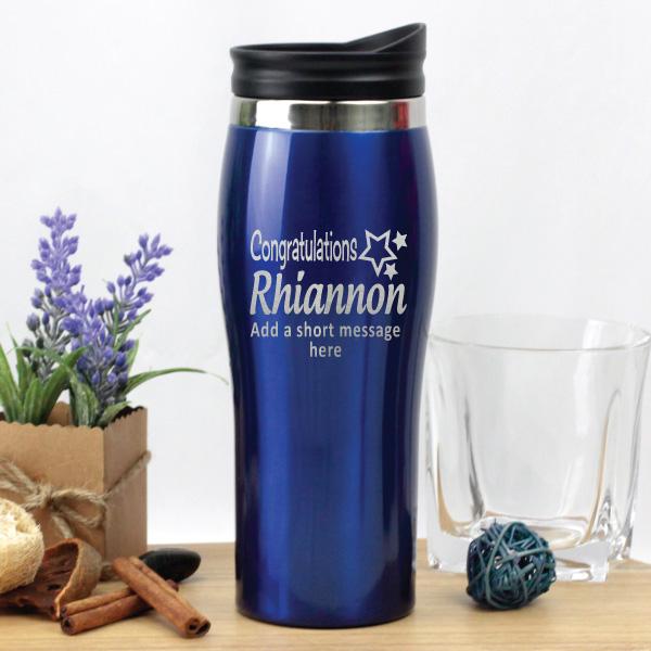 Image of Graduation Engraved Travel Mug - Blue{empty_space}