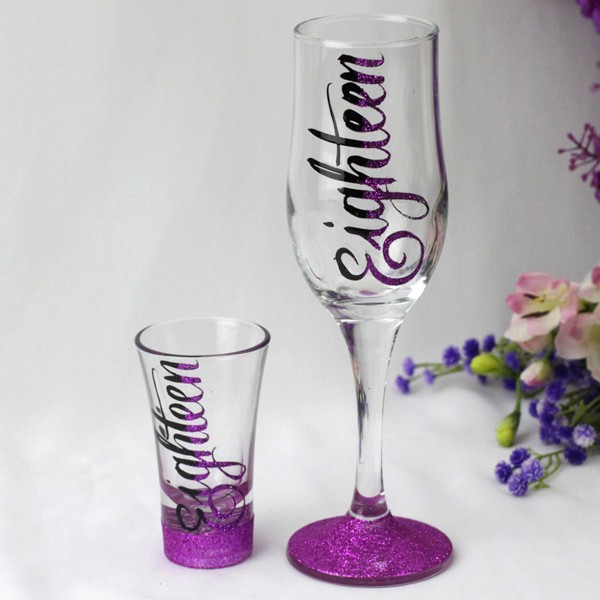 Image of 18th Birthday Champagne & Shot Glass Set{empty_space}