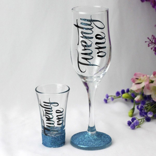 Image of 21st Birthday Champagne & Shot Glass Set{empty_space}