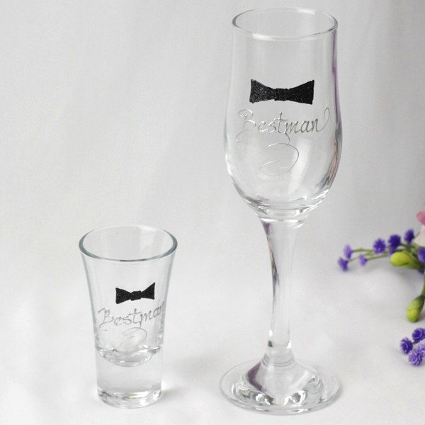 Image of Bestman Champagne & Shot Glass{empty_space}