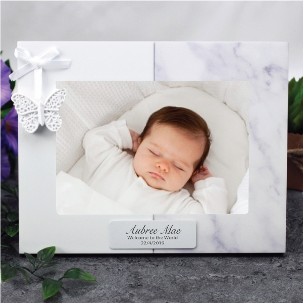 Image of Personalised Baby 7 x 5 Photo Frame - Butterfly{empty_space}