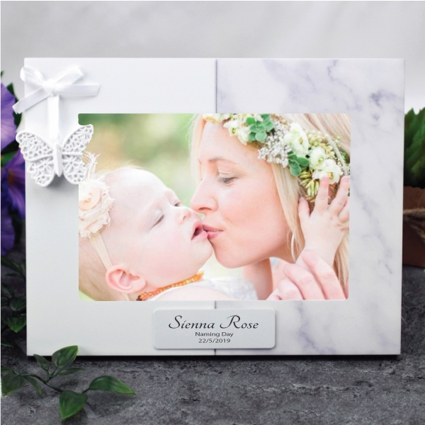Image of Personalised Naming Day 7 x 5 Photo Frame - Butterfly{empty_space}