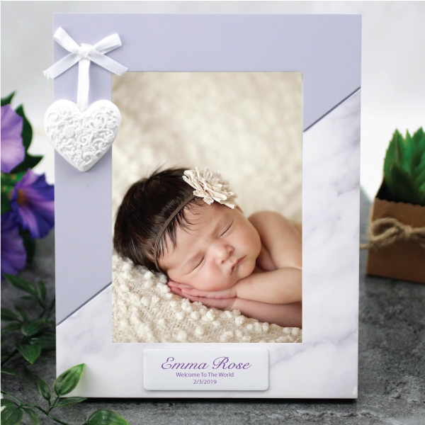 Image of Personalised Baby 5 x 7 Photo Frame - Heart{empty_space}