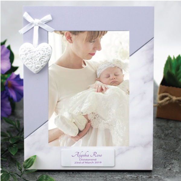 Image of Personalised Christening 5 x 7 Photo Frame - Heart{empty_space}