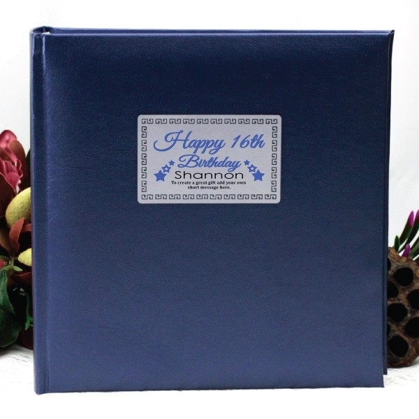 Image of Personalised 16th Birthday Photo Album - Blue{empty_space}