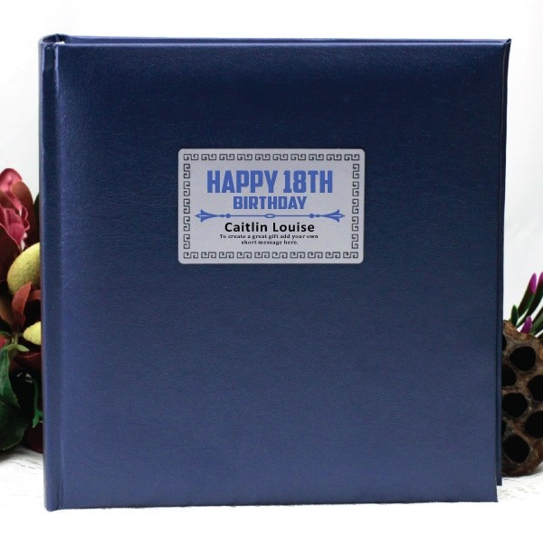 Image of Personalised 18th Birthday Photo Album - Blue{empty_space}